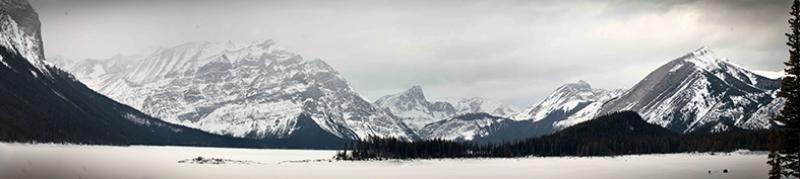 Dağ ve Kar Panaroma Panaromik Manzara Kanvas Tablo