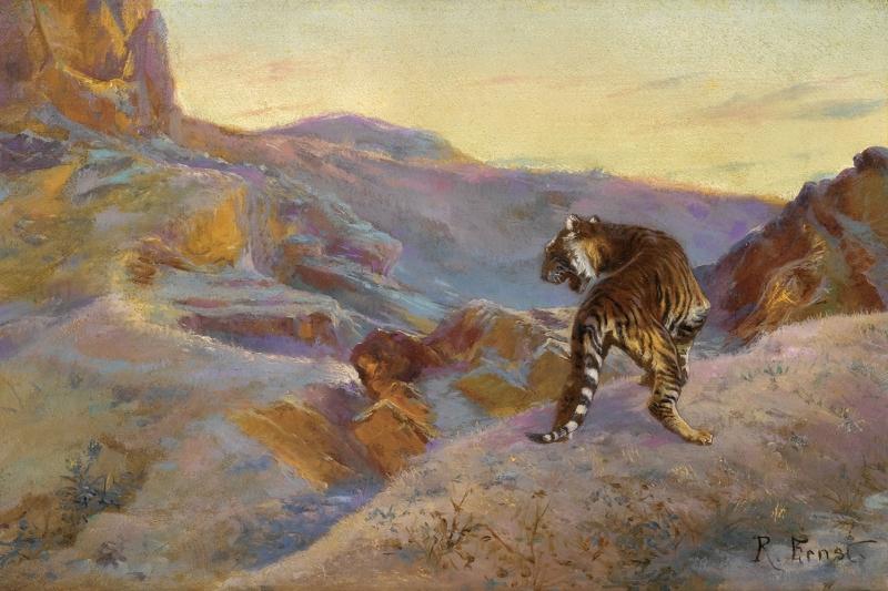 Dağdaki Yalnız Kaplan Yağlı Boya Sanat Kanvas Tablo