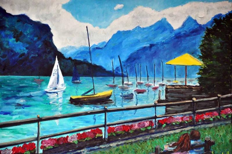 Dağlar Arasındaki Göl, Manzara Kanvas Tablo
