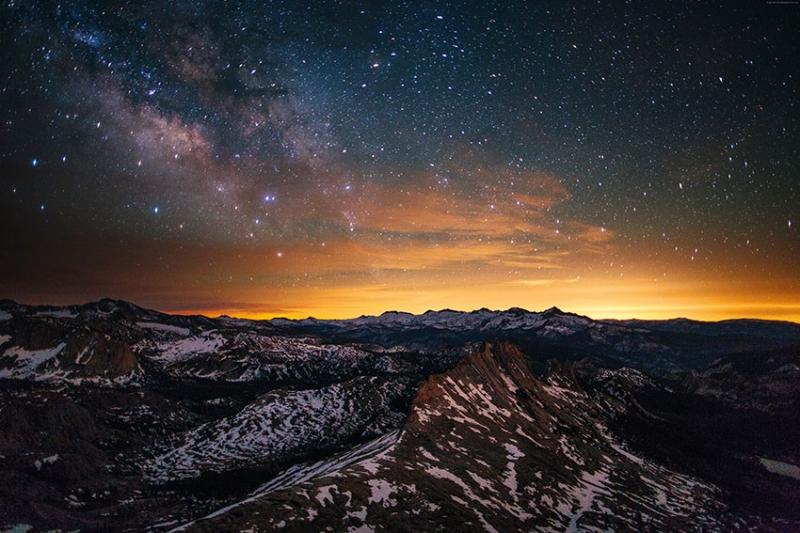 Dağlar ve Gün Batımı Dünya & Uzay Kanvas Tablo
