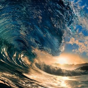 Dalga ve Güneş Doğa Manzaraları Kanvas Tablo