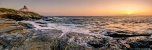 Dalgalar ve Gün Batımı Panaromik Kanvas Tablo