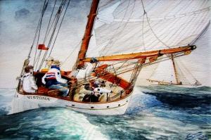 Dalgalı Deli Deniz, Yelken Yarışı-1 Modern Sanat Kanvas Tablo