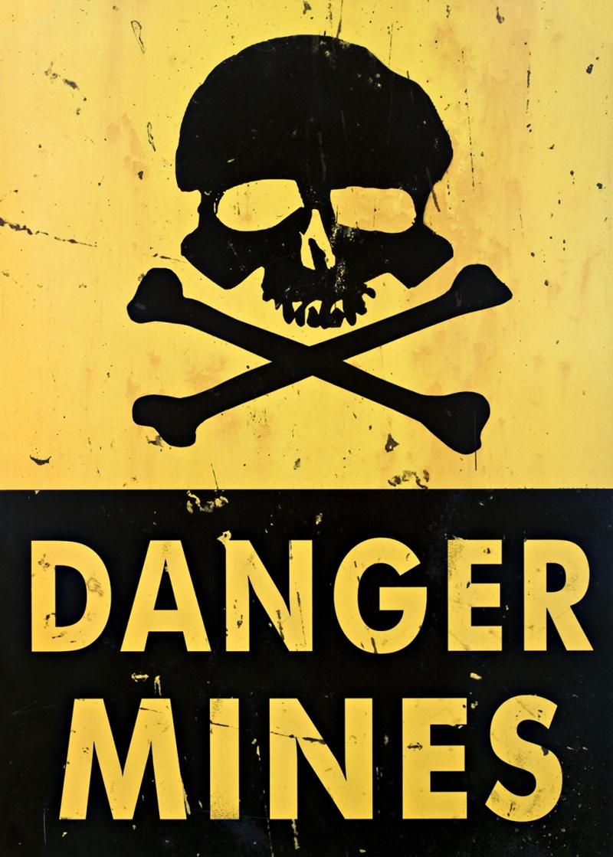 Danger Mines Retro & Motto Kanvas Tablo