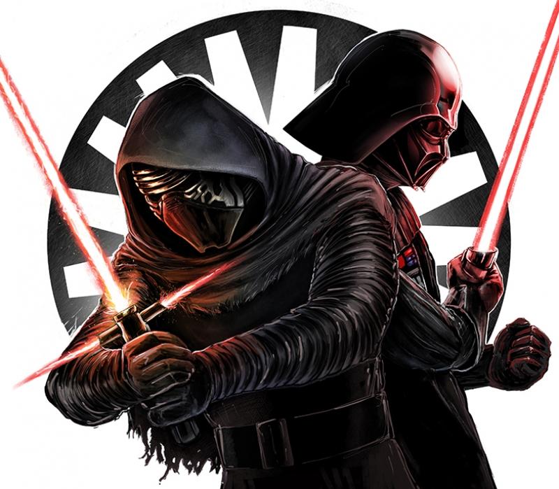 Darth Vader vs Klyo Ren 2 Star Wars Kanvas Tablo