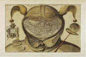 Deli Sapkasina Cizilmis Eski Cizim Dunya Haritasi Cografya Canvas Tablo