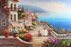 Deniz Doğa Manzaraları 10 İtalya Yağlı Boya Sanat Kanvas Tablo