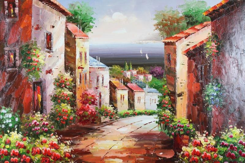 Deniz Doğa Manzaraları 14 İtalya Renkli Evler Yağlı Boya Sanat Kanvas Tablo