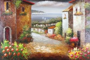 Deniz Doğa Manzaraları 15 İtalya Güney Sahilleri Yağlı Boya Sanat Kanvas Tablo