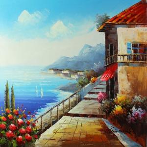 Deniz Doğa Manzaraları 16, İtalya Güney Sahilleri Kanvas Tablo