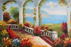 Deniz Doğa Manzaraları 2 İtalya Yağlı Boya Sanat Kanvas Tablo