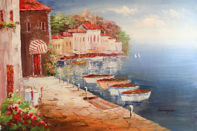 Deniz Doğa Manzaraları 3 İtalya Yağlı Boya Sanat Kanvas Tablo