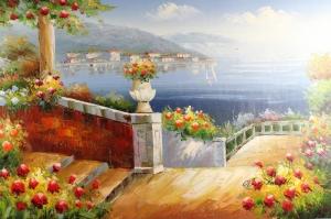 Deniz Doğa Manzaraları 5 İtalya Yağlı Boya Sanat Kanvas Tablo
