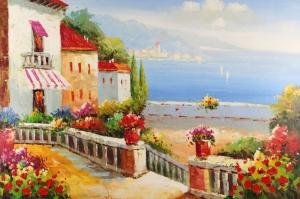 Deniz Doğa Manzaraları 6 İtalya Yağlı Boya Sanat Kanvas Tablo