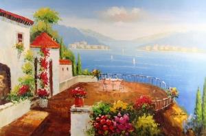 Deniz Doğa Manzaraları 7 İtalya Yağlı Boya Sanat Kanvas Tablo