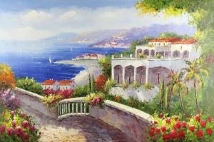 Deniz Doğa Manzaraları 8 İtalya Yağlı Boya Sanat Kanvas Tablo