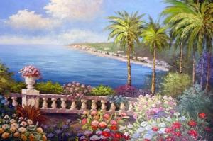 Deniz Doğa Manzaraları 9 İtalya Yağlı Boya Sanat Kanvas Tablo