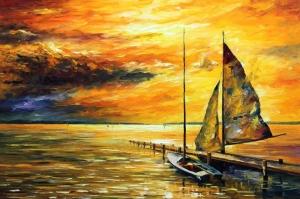 Deniz Gun Batımı Yağlı Boya Sanat Kanvas Tablo
