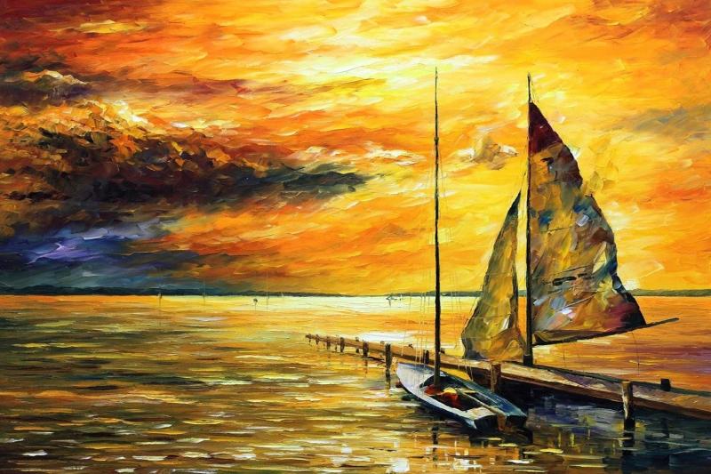 Deniz Gun Batımı Yağlı Boya Sanat Kanvas Tablo Arttablo