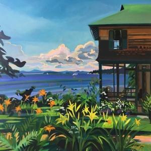 Deniz Kenarında Şirin Sahil Kasabası Manzarası-2 Modern Sanat Kanvas Tablo
