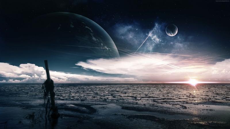 Deniz Okyanus Akşam Ay Dünya & Uzay Kanvas Tablo
