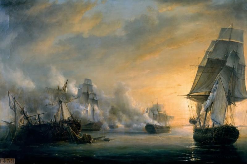 Deniz Savaşı Yağlı Boya Sanat Kanvas Tablo