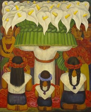 Diego Rivera Çiçek Festivali Yağlı Boya Klasik Sanat Kanvas Tablo