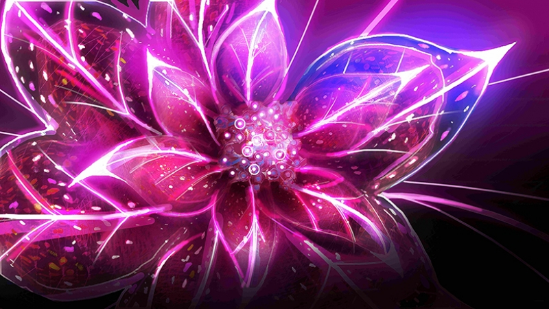 Dijital Çiçek Abstract Dijital ve Fantastik Kanvas Tablo