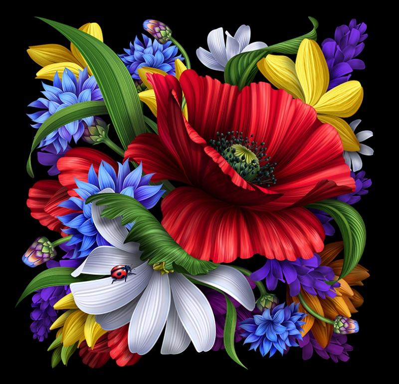 Dijital Çiçekler Floral Yağlı Boya Sanat Kanvas Tablo
