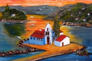 Doğa Dağ Evi Manzarası Yağlı Boya Sanat Kanvas Tablo
