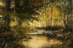 Doğa Göl Orman Manzaraları 4 Yağlı Boya Sanat Kanvas Tablo