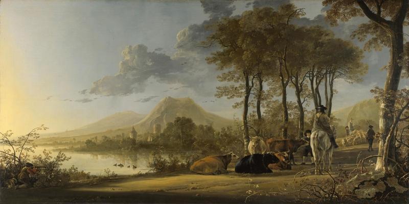 Doğa Manzarası Çoban Ve Sürüsü Yağlı Boya Sanat Kanvas Tablo