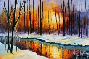 Doğa Nehir Orman Manzara 2 Yağlı Boya Sanat Kanvas Tablo