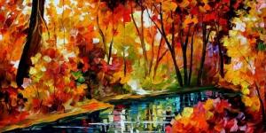 Doğa Nehir Orman Manzara 4 Yağlı Boya Sanat Kanvas Tablo