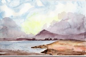 Doğa Sahil Manzarası Sulu Boya Sanat Kanvas Tablo