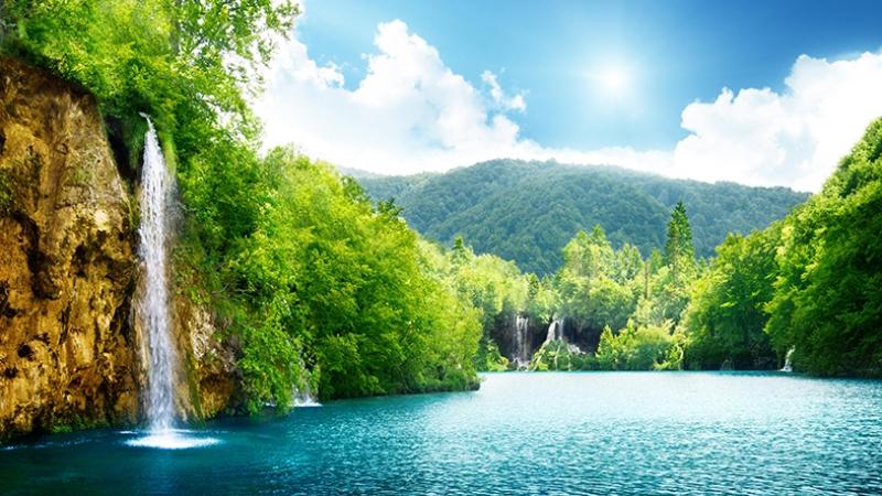 Doğa Şelale ve Nehir Manzarası Kanvas Tablo