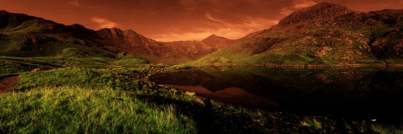 Doğa ve Gün Batımı Panaromik Kanvas Tablo