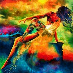 Doğa ve Kadın Yağlı Boya Sanat Kanvas Tablo