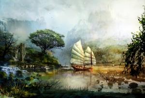 Doğa ve Yelkenli Yağlı Boya Sanat Kanvas Tablo