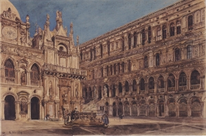 Doge Sarayı'nın Avlusu, The Courtyard Of The Doge's Palace in Venice-1867, Rudolf Von Alt, Klasik Sanat Kanvas Tablo