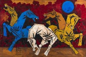 Dolunay\'da Atlar Dekoratif Sanatsal Kanvas Tablo