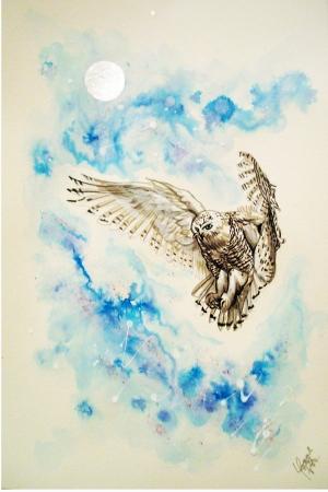 Dolunay ve Baykuş Yağlı Boya Sanat Kanvas Tablo