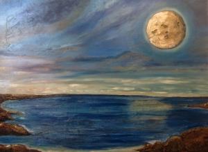 Dolunay ve Deniz Manzarası Yağlı Boya Sanat Kanvas Tablo