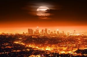 Dolunay ve Şehir Manzarası Dünyaca Ünlü Şehirler Kanvas Tablo
