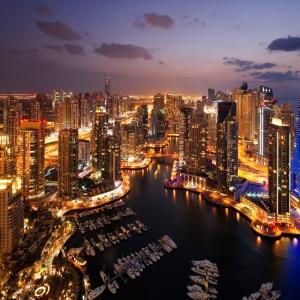 Dubai Yüksek Gökdelenler Akşam Manzarası Şehir Manzarası  Dünyaca Ünlü Şehirler Kanvas Tablo