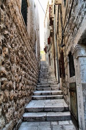 Dubrovnik Merdivenleri Sokak Manzarası-2 Şehir Manzaraları Kanvas Tablo