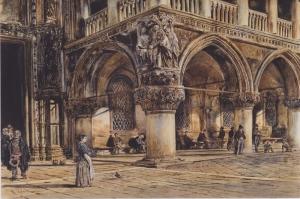Ducal Sarayı Venedik, View Of The Ducal Palace in Venice-1874, Rudolf Van Alt Klasik Sanat Kanvas Tablo