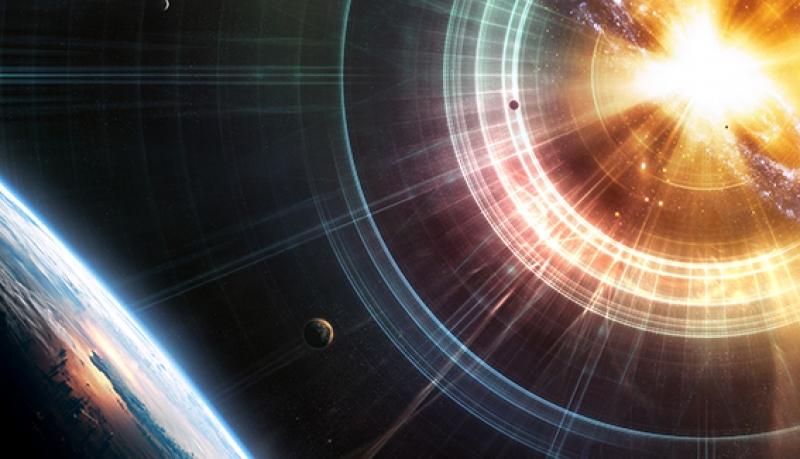 Dünya Evren Yıldız Güneş Galaksi Fantastik 3d Kanvas Tablo