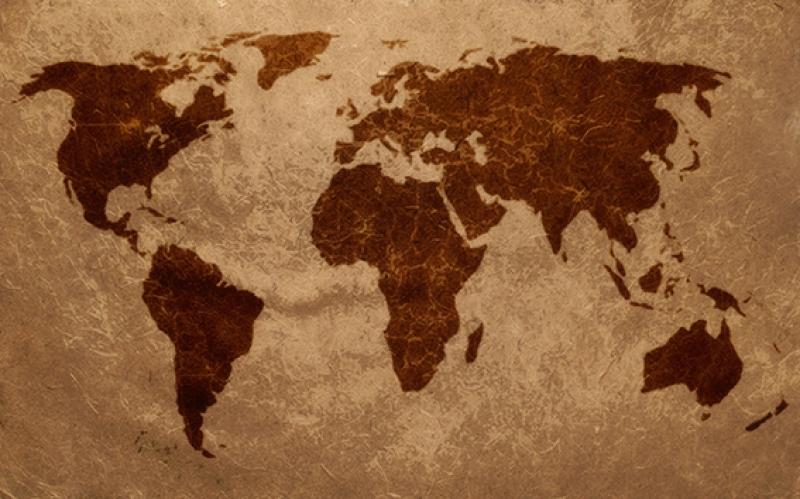 Dünya Haritası Deri Dekorasyon Kanvas Tablo