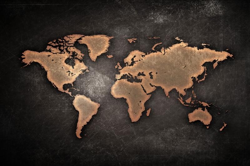 Dunya Haritasi HD Goruntu 2 Canli Renkler Cografya Kanvas Tablo